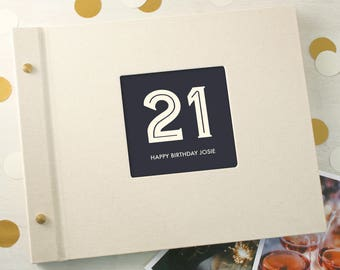 Personalised Typographic 21st Birthday Photo Album