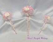 Artificial Wedding Flowers Bridesmaid Flower Girl Wand Bouquet in Light Pink Foam Roses with diamante
