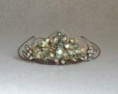 Celestial Wedding Tiara Crown, Green Wedding Hair Accessories, Vintage Crown Tiara, Rustic Boho Wedding Wreath Crown, Bridal Tiara Headband