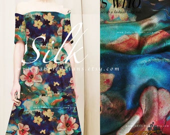 Teal silk satin fabric - buy printed silk