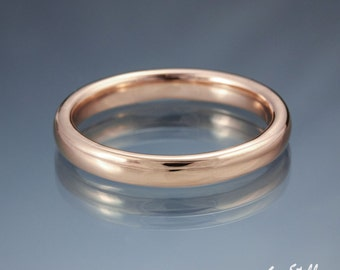Wedding Band Domed Plain Wedding Ring Simple Comfort Fit Ring - 14k or 18k Rose Yellow White Gold or Platinum