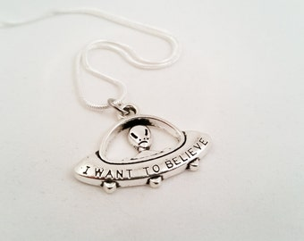 X-Files Necklace, Alien Necklace, I Want to Believe Necklace, Spaceship Charm Necklace
