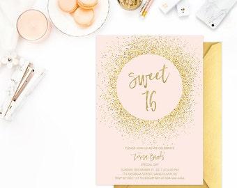 Pink Gold Sweet 16 Birthday Invitation, Sweet Sixteen Invitation, Blush Gold Glitter Sweet Sixteen Invitation