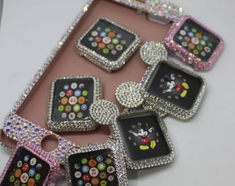 Apple Watch case bling handmade rose gold white opal crystal ab rhinestones swarovski elements light pink fashion black jet handmade case