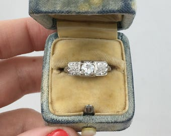 Streamline Art Deco platinum engagement ring, Old European cut diamond, beautiful design!