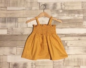 Yellow Baby Dress | Mustard Yellow Dress | Polka Dot Dress | Baby Girls Dress | Shirred Dress | Smocked Dress