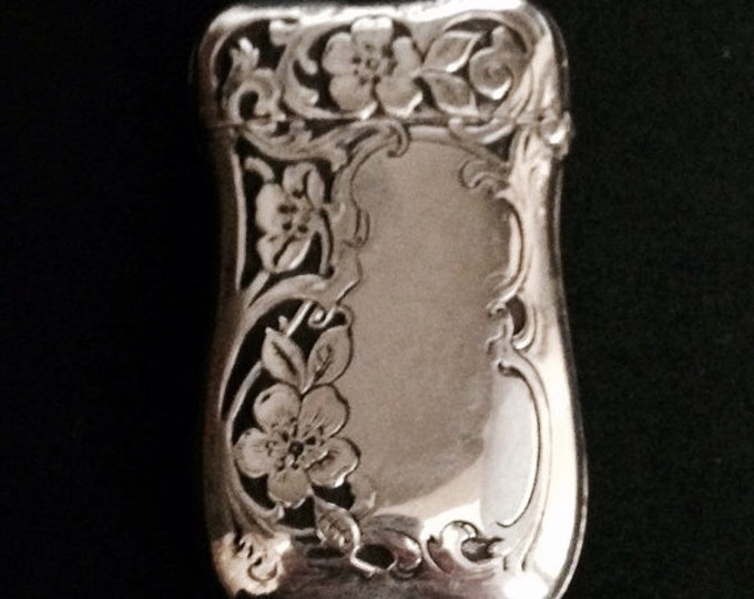 Storewide 25% Off SALE Antique Sterling Silver Scrolling Repousse Floral Vesta Match Safe With Engraved Strike Plate Featuring Blank Monogra