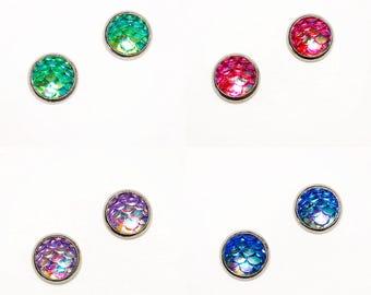 HYPOALLERGENIC EARRINGS Mermaid Earrings 8mm SMALL Stud Earrings (Surgical Stainless Steel), Clothing Gift, women's gift, gift for her