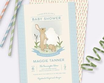 Bunny Rabbit Baby Shower Invitation – Blue – Printable Invitation by Squawk Box Studio
