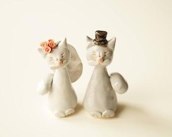 Wedding Cake Topper, Cat Cake Topper, Gray Cat Cake Topper, Ceramic Cake Topper by Her Moments