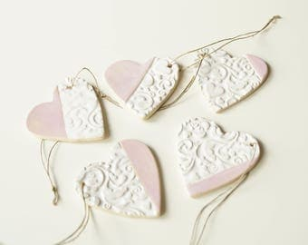 Guest Favors, Heart Ornament Favors, Wedding Favors, Wedding Ornament, Wedding Day Decor,  Heart Ornament, Hanging Ornament, Set of 5 Pieces