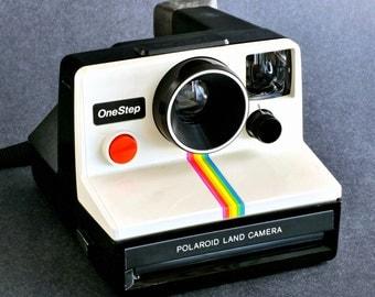 Polaroid OneStep Land Camera Hard to Find Rainbow Stripe Version Collectible NiCE !