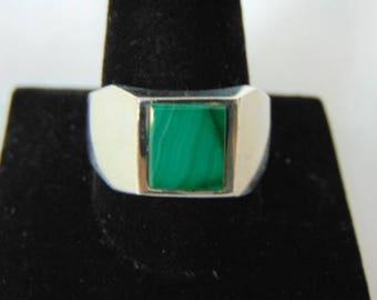 Mens Sterling Silver Ring w/ Malachite 11.8g E875