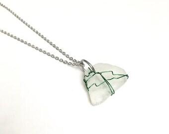 Sea Glass Jewelry, Sea Glass Necklace, Sea Glass pendant,Glow in the dark,White Sea Glass,Pendant Necklace, Wedding Jewelry, Wire Jewelry