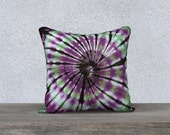 Outdoor Tie Dye Throw Pillow- Purple Black Green-Weather-resistent-UV coating-Square Rectangle-14x20, 16x16, 18x18, 20x20