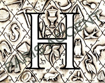 Instant digital download of Letter 'H' from 'Nouveau Petit Larousse Illustré' a French Encyclopedia. Great for arts and crafts! Dated 1952