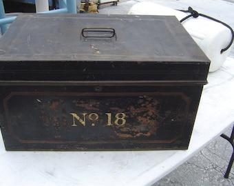 Vintage metal cash/bank deposit box Large,Black,and Gold