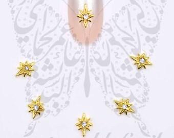 Christmas 3D Nail Art Gold Star of Bethlehem Charms / 2pcs