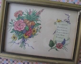 """Vintage Framed Poem """"To Mother"""", Gold Leaf 6"""" x 8"""" Wooden Frame, Softly Colored Floral Graphic - 1930's"""