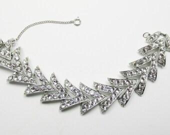 Glamorous Vintage 1960s Signed Sarah Coventry Clear Rhinestone Bracelet