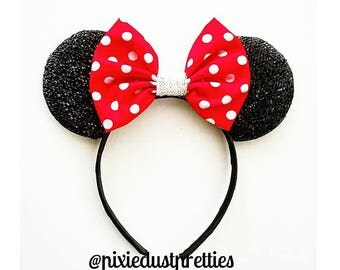 Polka dot mouse ears, minnie mouse, minnie ears, polka dot bow,  polka dot minnie