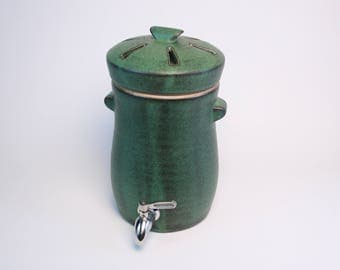 Kombucha Crock with lid, spigot, and cloth cover (~4 liters, Green-to-black) MADE TO ORDER