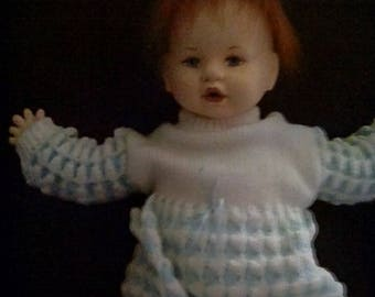 Hand painted felt red headed boy baby doll,hand made and signed Carla Thompson