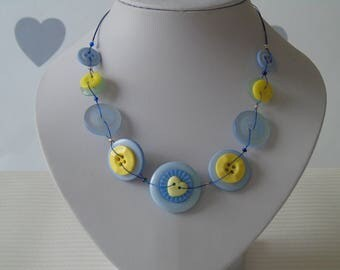 Blue And Yellow Button Necklace - Button Jewellery - Gifts for her - One of a kind