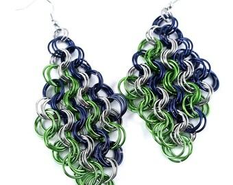 Chainmaille Earrings Navy Blue Lime Green Silver Seahawks Earrings Stripe Pattern