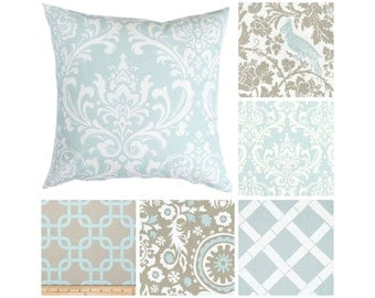 Light Blue Pillow Cover.Taupe Throw Pillows.Damask Pillows.Decorative Pillows.Pillow.Euro Sham.Pillow Covers.Taupe Cushion Cover