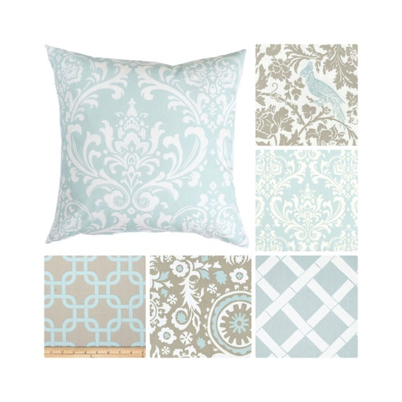 Light Blue Throw Pillow Covers : Light Blue Pillow Cover.Taupe Throw Pillows.Damask
