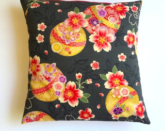 Japanese fabric cushion cover, classy cushion cover, throw pillow cover, in red, black and gold
