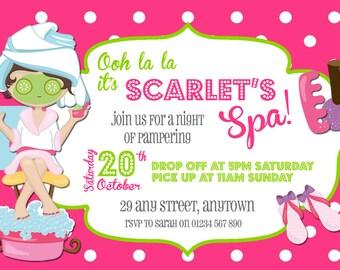 digital spa pamper party invitations customized printable diy - Pamper Party Invitations