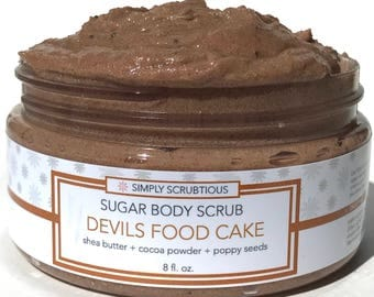 DEVIL FOOD CAKE Sugar Body Scrub-Chocolate Body Scrub-Cocoa Body Scrub- 8 oz.