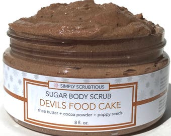 DEVIL FOOD CAKE Sugar Body Scrub-Chocolate Body Scrub-Emulsified Body Scrub-Cocoa Body Scrub- 8 oz.