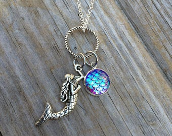 Mermaid and Scale Necklace, Charm Necklace, Mermaid Necklace, Gifts for her, Nautical necklace, Beach necklace
