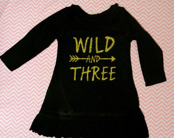 Wild and Three Birthday Dress! Girls Personalized Dress (Black Dress/ Gold Glitter )