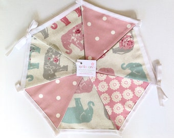 Elephant Bunting, Fabric Bunting, Lined Bunting, Decoration, Pink Dotty Bunting