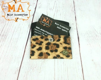 Leopard Print Business Card Holder Pouch with Snap Closure
