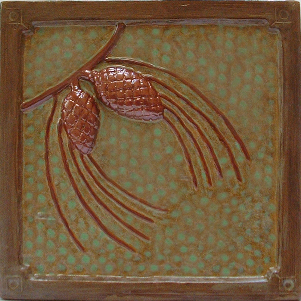 6 inch pine cone tile for fireplace u0026 kitchen craftsman