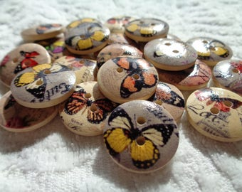 Butterfly Wood Buttons