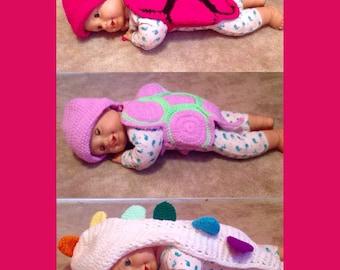 Crochet Turtle or Dinosaur Photo Props