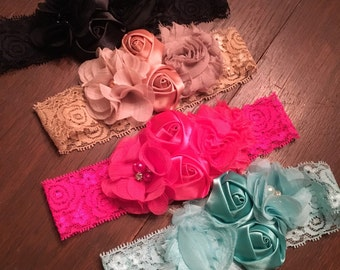 Toddler and baby lace headbands