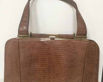 Lizard Print Brown Vintage Handbag