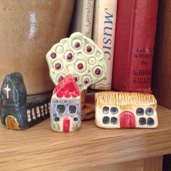 Set of 3 tiny houses and tree, small house ornaments, ceramic houses, ceramic barn, ceramic church, ceramic house.