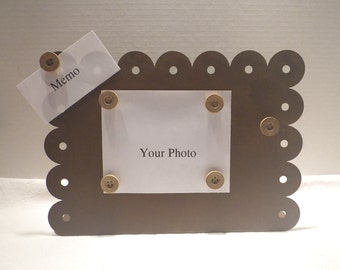 Rustic Metal photo holder with vintage wooden buttons ~ Memo Holder ~ Recipe Holder