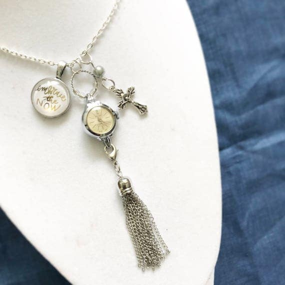 "Hand Lettered Cabochon Pendant, Watch & Tassel 24"" Necklace * Catholic Christian Jewelry *"