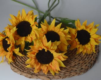 Real Touch Sun Flowers Artificial PU Flowers for Centerpieces Silk Wedding Bouquets