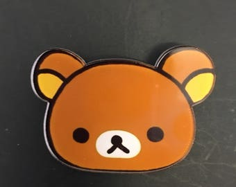 Cute rilakkuma teddy bear brooch