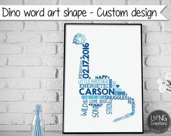 Dino / Dinosaur - Personalized word art print - custom word cloud - boy nursery decor - birth stat - printable digital file - Typography